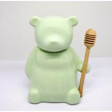 عسل خوری چینی همراه با قاشق چوبی