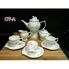 سرویس 17 پارچه چایخوری توت فرنگی بن چاینا (چینی استخوانی)