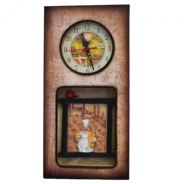 ساعت دیواری چوبی طرح سرآشپز کد 701